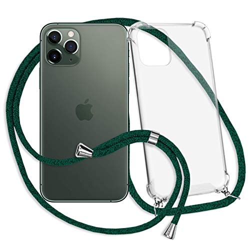 mtb more energy Collana Smartphone per Apple iPhone 11 PRO (5.8'') - Verde Scuro - Custodia indossabile per Collo - Cover con Cordoncino Tracolla