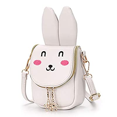 Hipiwe Little Girl Purse Cute PU Leather Bunny Ears Purse Fashionable Kids Handbag Crossbody Bag Toddlers Shoulder Bags with Bowknot for Children (Beige Rabbit)