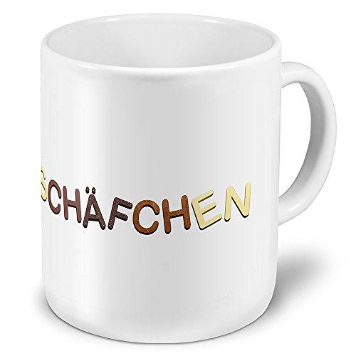 XXL Riesen-Tasse mit Namen Schäfchen - Motiv Schokoladenbuchstaben - Namenstasse, Kaffeebecher, Becher, Mug