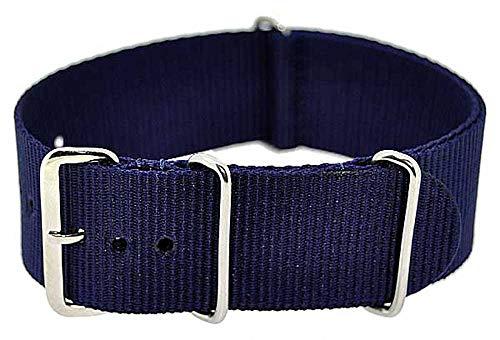 Uhrenarmband Durchzugsband Polyester dunkelblau Uni 24mm