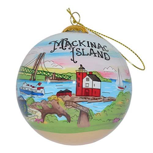 Art Studio Company Hand Painted Glass Christmas Ornament - Illustrated Mackinac Island