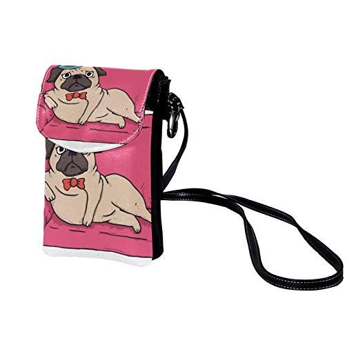 Xingruyun Bolso Bandolera para Celular Pequeño Sofá de dibujos animados pug Mini Billetera Multifunción Monedero Puede Caber Gafas de sol Teléfono móvil 19x12x2cm