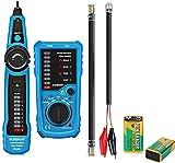 Iriisy Comprobador de Cable de Red,Tester de Cable, Probador de Cable, Rastreador de Cables Electricos,Probador de Red Telefónica, Buscador de línea de cable,Detector de Cables Red RJ45/RJ11