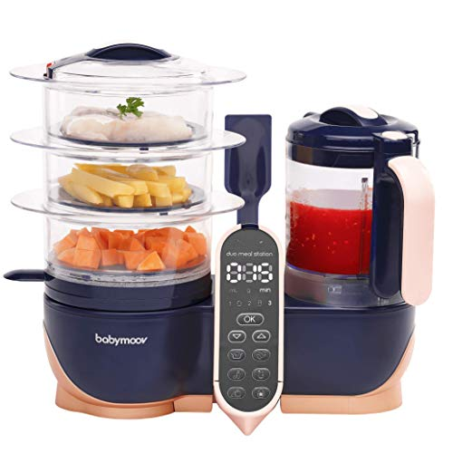 Babymoov Duo Meal Station XL | 6 in 1 Food Processor with Steamer, Multi-Speed Blender, Warmer, Defroster & Sterilizer (Nutritionist Approved), Pink