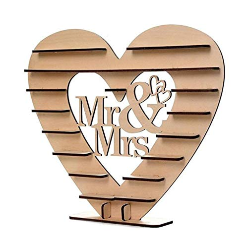 FKY Koehope Wedding Houten ornamenten Mr & Mrs Chocolade Stand Display Candy Cupcake Desserts Houder Home Decor Bruiloft Party Bars