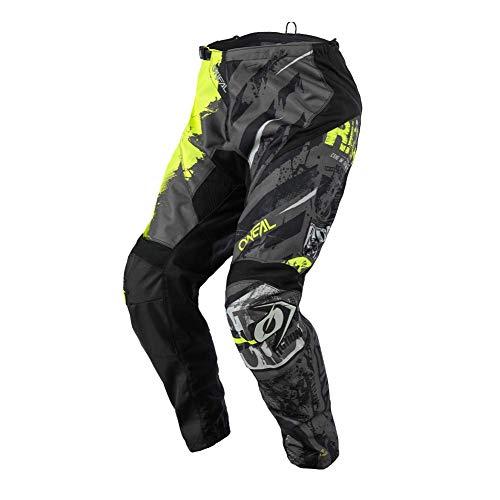 O'Neal | Pantalones de Motocicleta | Enduro Motocross | Ajuste para una máxima Libertad de Movimiento, Transpirable y Duradero | Pantalones Elemento Ride | Juventud | Negro Amarillo Neón | Talla 26