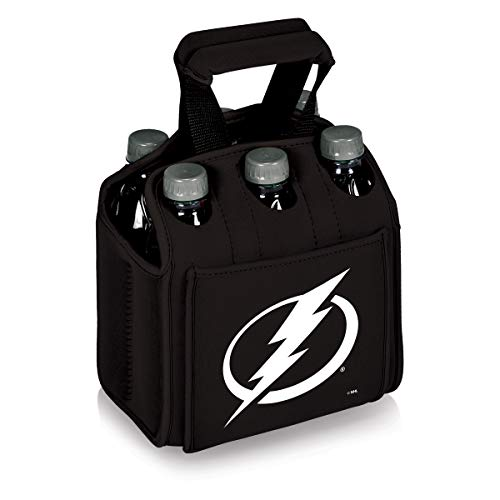 PICNIC TIME NHL Tampa Bay Lightning Six Pack Insulated Neoprene Beverage Tote Black