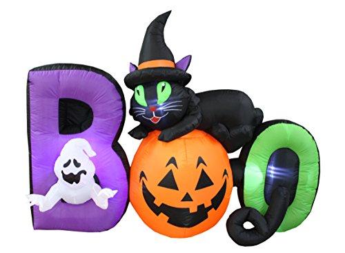 BZB Goods 182,9 m Lange beleuchtete Halloween-Dekoration mit schwarzem Geist, Kürbis-Boo LED-Lichter, Dekoration für drinnen und draußen, aufblasbar