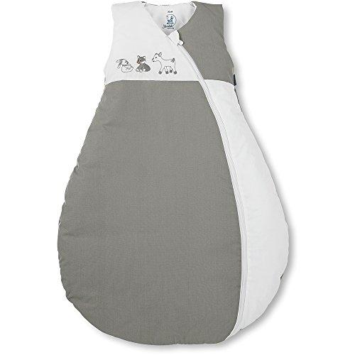 Sterntaler Schlafsack für Kleinkinder, Ganzjährig, Wärmeregulierung, Reißverschluss, Größe: 90, Waldis, Weiß/Grau