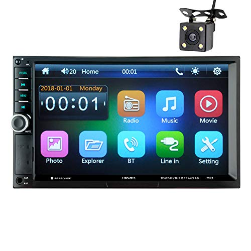 LWTOP Bluetooth Voiture stéréo 7 Pouces HD Tactile écran capacitif 2 DIN in-Dash MP5 amplificateur vidéo Audio avec Mains Libres/FM AM RDS Radio/USB/SD/AUX