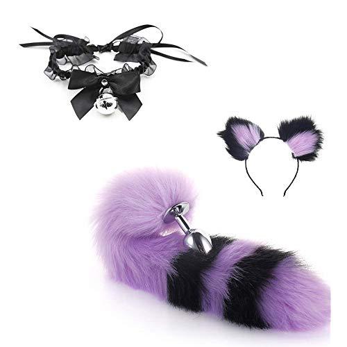 Bunny tail ear tapones para los odos collar anillo de encaje bowknot fox cat tail diadema acero inoxidable anime cosplay disfraz para mujer nia negro prpura (L)