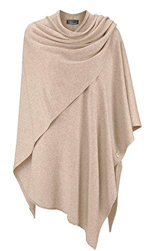 Poncho für Damen mit Kaschmir / Cashmere von Kurt Kölln ❤ Modischer All-Rounder für Frauen als Alternative zu einem Strickwaren / Pulli / Strick-Pullover / Cap oder Strick-Jacke hellbeige