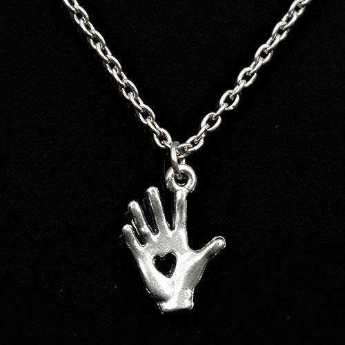 FACAIBA Necklace Tibetan Silver Color Pendant Palm Tree Hand Heart Cut Choker Charm Short Long DIY Necklace Factory Price Handmade Jewelry