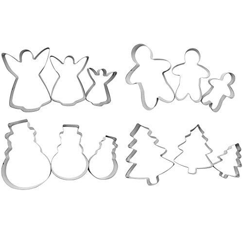 COM-FOUR® 12x Coupe-biscuits pour pain d'épices, biscuits et biscuits - Coupe-biscuits en métal de différentes formes (12 pièces - Set7)