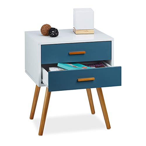 Relaxdays Bijzetkast Scandinavisch design, 2 laden, Retro HBT: 58 x 41 x 48 cm, mat gelakt, turquoise wit