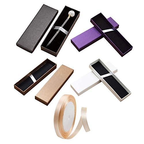 Clyhon 4pcs Boîte de stylo plume universelle exquise et 1 rouleau de ruban rose champagne, boîte vide, boîte-cadeau de grande capacité.