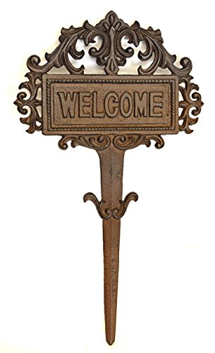 ARSUK vintage cast Iron Welcome Sign per giardino yard Fence Garden Art standing Welcome Sign