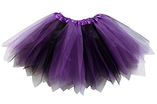 So Sydney Adult Plus Kids Size Pixie Fairy Tutu Skirt Halloween Costume Dress Up (XL (Plus Size), Purple & Black)