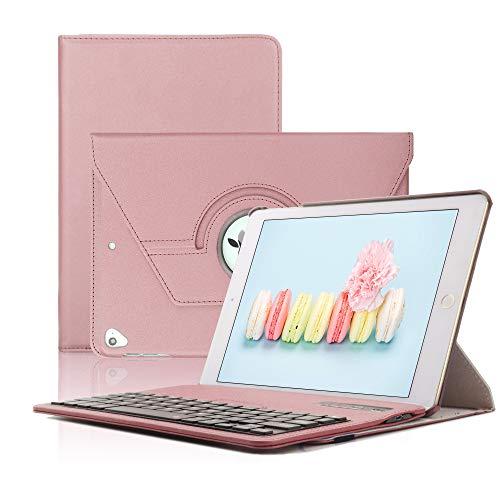 Keyboard Case iPad 9.7(6th Gen, 5th Gen) - iPad Air 2&1 - iPad Pro 9.7-360 Rotating - Detachable Keyboard - PU Leather Stand - iPad Case with Keyboard, (Rose Gold, 9,7)