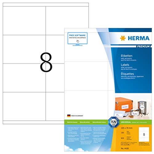 HERMA 4426 Universal Etiketten DIN A4 groß (105 x 70 mm, 100 Blatt, Papier, matt) selbstklebend, bedruckbar, permanent haftende Adressaufkleber, 800 Klebeetiketten, weiß