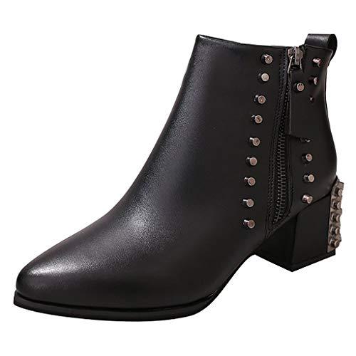 POLP Botas de Fiesta Mujer con Cremallera y Tachuelas Botines de Tacón 5.5 cm Zapatos Informal Negro (Ropa)
