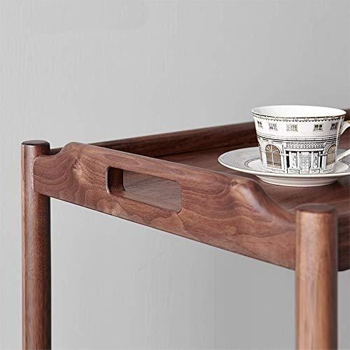 ShiSyan Plegable Estilo Chino Café Mesa Lateral Portabl Mesa de té Mesa de Hierro Fin de la Sala de Estar Decoración (Color: Color de la Madera, Tamaño: 60x40x58cm) Mesas