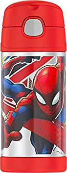 THERMOS FUNTAINER 12 Ounce Stainless Steel Vacuum Insulated Kids Straw Bottle Spiderman