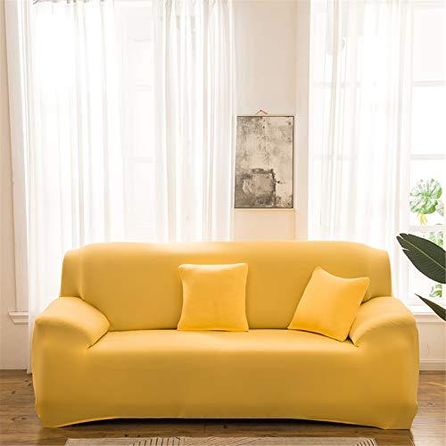 XJHKG Funda De Sofá, Universal High Stretch Elástica Cubierta para Sofá Chaise Longue Protector para Sofá con Cuerda De Fijación (Amarillo,3 Plazas)