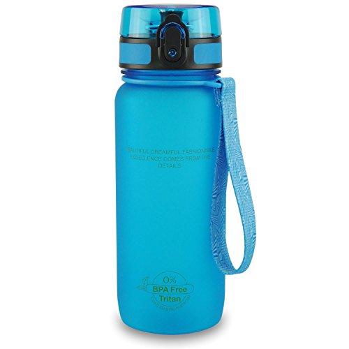 SMARDY Tritan Botella de Agua para Beber Azul - 650ml - de plástico sin BPA - Tapa de un Clic - fácil de Abrir - ecológica - Reutilizable