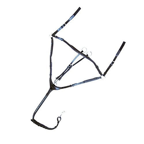 Kavalkade Vorderzeug Diandro Leder 3-Punkt abnehmbares Martingal (Pony, schwarz)