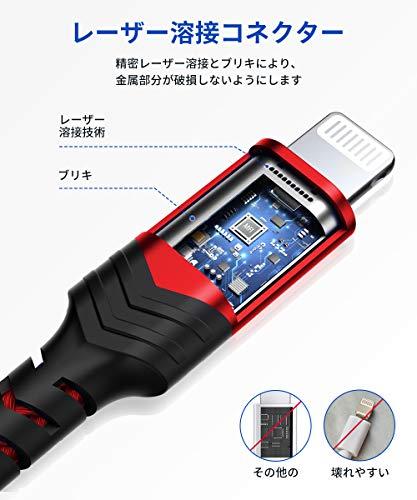 【2020進化版】JSAUXiPhone充電ケーブル「C89AppleMFi認証/1.8M/2.4A急速充電」ライトニングケーブル超高耐久ナイロン編みiPhone11XsMaxXXR876s6PlusSE55s、iPad、iPodなどに対応(赤)