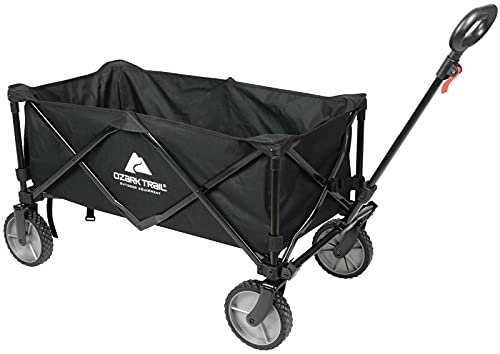 Wagon Folding Cart Collapsible Garden Beach Utility Outdoor Camping Sport Black