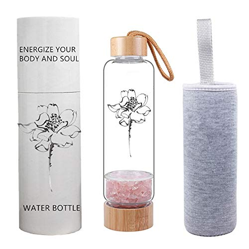 Natural Crystal GEM Water Bottle BambooQuartz Crystals and  Sleeve included!