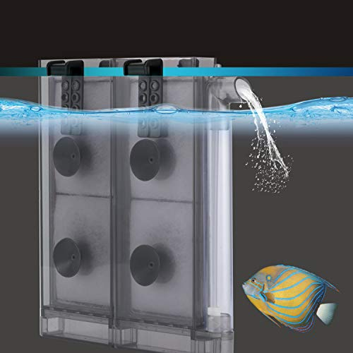 hygger Thin Aquarium Sponge Filter, in-Tank Filter with 2 Replaceable Spare Filter Cartridge,Quiet Hang On Fish Tank Filter with Suction Cup for 2 to 10 Gallon (M