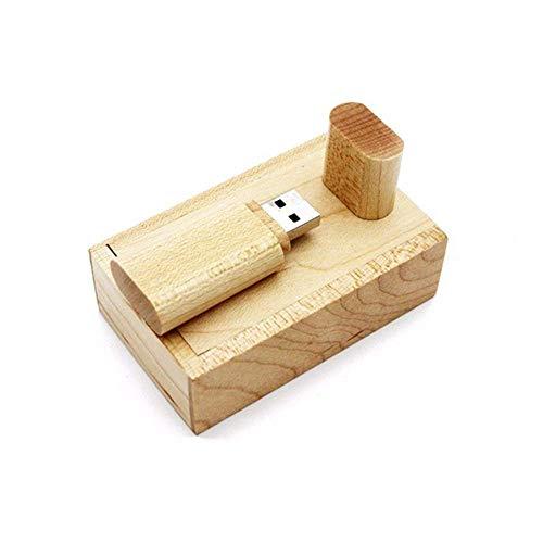 Beken Unidad flash USB de madera con caja de madera U disco de memoria Pen Drive (128 GB, USB2.0)