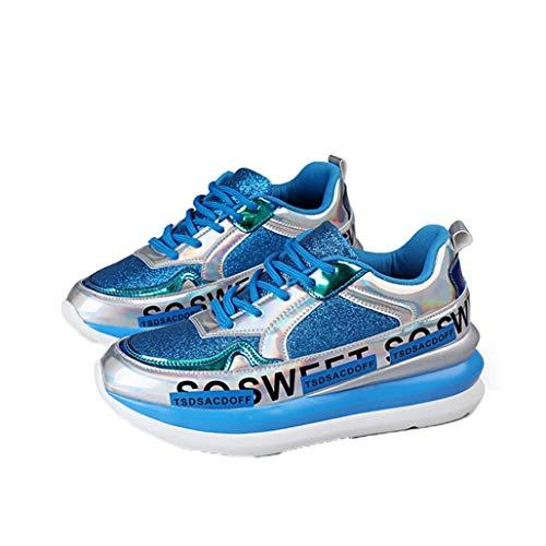 Dames Sneakers Ademend Mesh Glitter Platform Vulcaniseer Schoenen Mode Veterschoen Jogging Fitness Flats Gemengde Kleur Wedge Sneakers