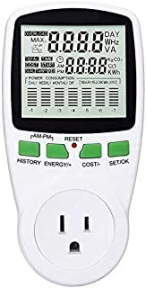 Power Meter US Plug Energy Monitor Power Consumption Electricity Usage Monitor Cost Meter Calculator Watt Voltage Amp Meter with Overload Protection (Upgraded)