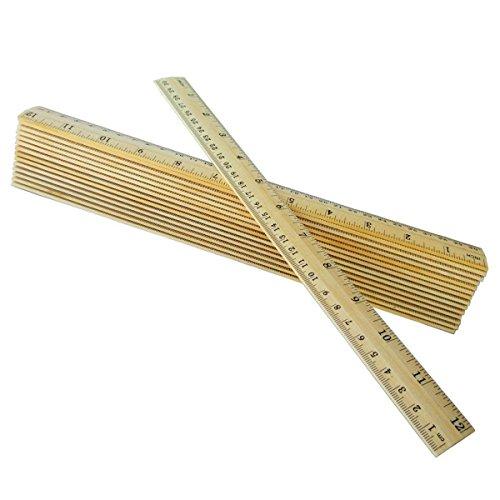 Senmubery Reglas de madera de 12 pulgadas, 30 cm, reglas para estudiantes de madera, reglas de la escuela, reglas de oficina, regla de medición