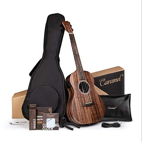 Caramel Baritone Ukulele 30 inch All Solid Acacia Wood Professional ukelele Instrument Kit Small Hawaiian Beginner Guitar ukalalee Starter Pack Bundle Gig bag Tuner Strap Aquila Strings Set