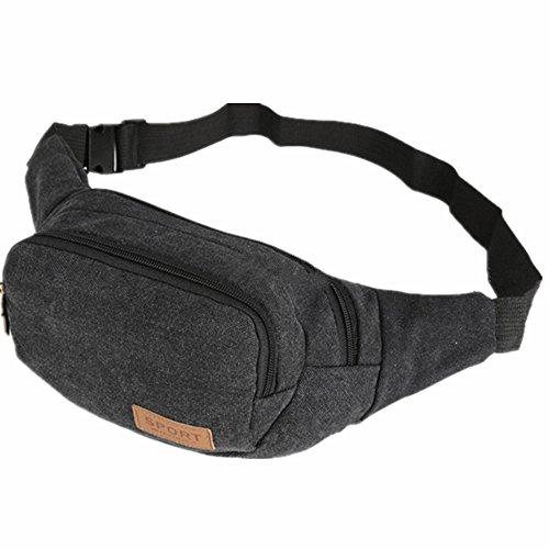 Ejiaen, bolso a la cintura unisex para senderismo, acampar, correr, bolso para el gimnasio o para exteriores, negro