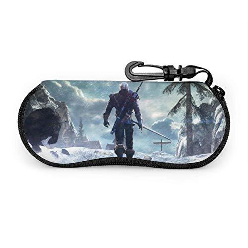 The Witcher Geral Brillenetui Sonnenbrille Softcase Ultraleichtes Neopren-Reißverschluss-Brillenetui mit Gürtelclip Multifunktionsbrillenetui