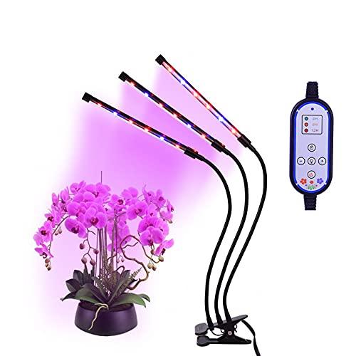 Plant Grow Light Upgrade Nueva versión 36W Triple Head Grow Light Lámpara de planta ajustable para plantas de interior Regulable de 8 niveles, temporización de encendido y apagado automático 4/8 / 12H