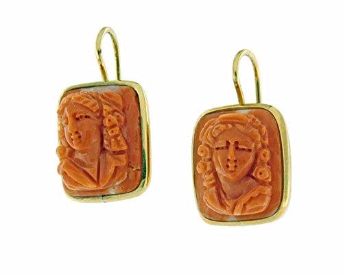 Viganò - Orecchini In Oro E Cammei Di Corallo, Colore: Rosso Chiaro-Arancio