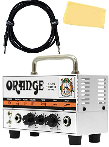 Orange MT20 Micro Terror 20-Watt Mini Guitar Amplifier Head Bundle with Instrument Cable and Austin Bazaar Polishing Cloth