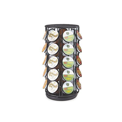 Mind Reader METCAR35-BLK Coffee Pod Storage Carousel, Holds 35 K-Cups, Coffee Pod Holder, Black Metal Mesh