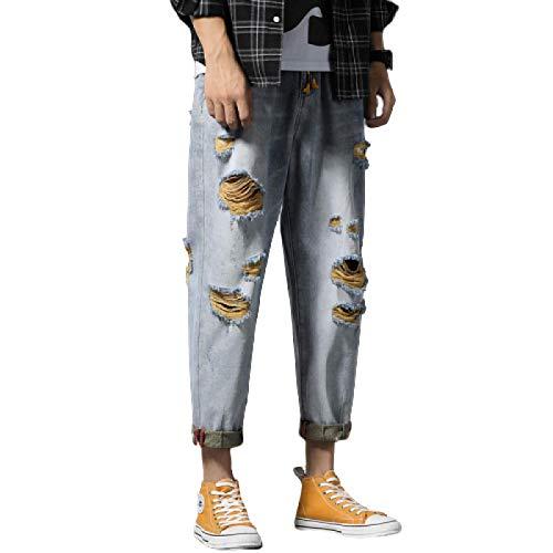 Pantalones Vaqueros para Hombre, Tendencia de Verano con Personalidad, Pantalones Harem Rasgados y recortados con cordón, Cintura elástica, Pantalones Vaqueros Sueltos de Pierna Recta 31W