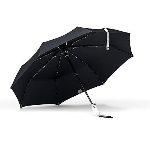 ShedRain Stratus Collection Dualmatic Auto Open/Auto Close Compact Umbrella - Glossy Piano White Grip