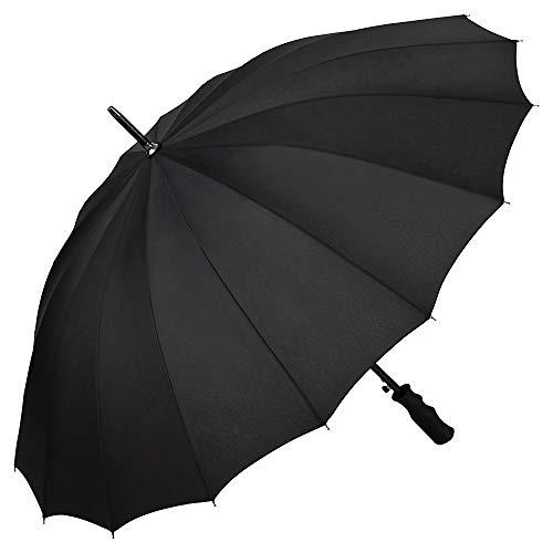 VON LILIENFELD® Regenschirm Durchmesser: 103 cm XL Sturmfest Auf-Automatik 2-Personen 16 Segmente Colin schwarz