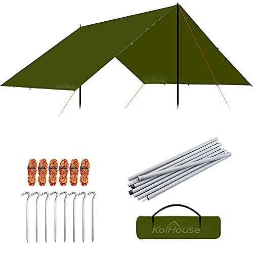 KoiHouse 防水タープ 軽量 天幕シェード 日除け 多機能タープuv 紫外線カット キャンプ 登山 携帯便利 大容量 キャリーバッグ付き タープポール付き サイズ220X240X200cm