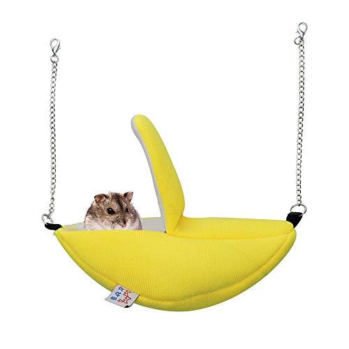 Andiker l'Amaca di Criceto, l'Amaca a Forma di Banana Nido di Sonno della Capanna del Criceto della Flanella Accogliente Capanna Pensile a Forma di Banana per porcellino d'India, Criceto (Giallo)